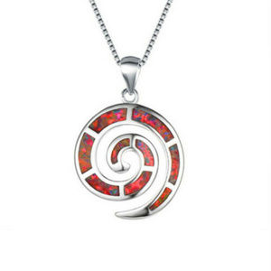 Elegant Red Fire Opalite Infinity Circle Necklace